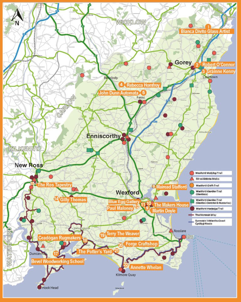 Map of Wexford Craft Trail Member Locations