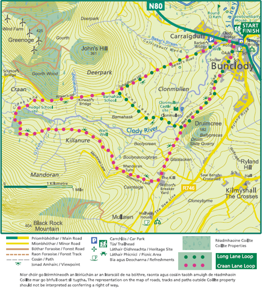 Bunclody Craan-Long Lane Loop Map image